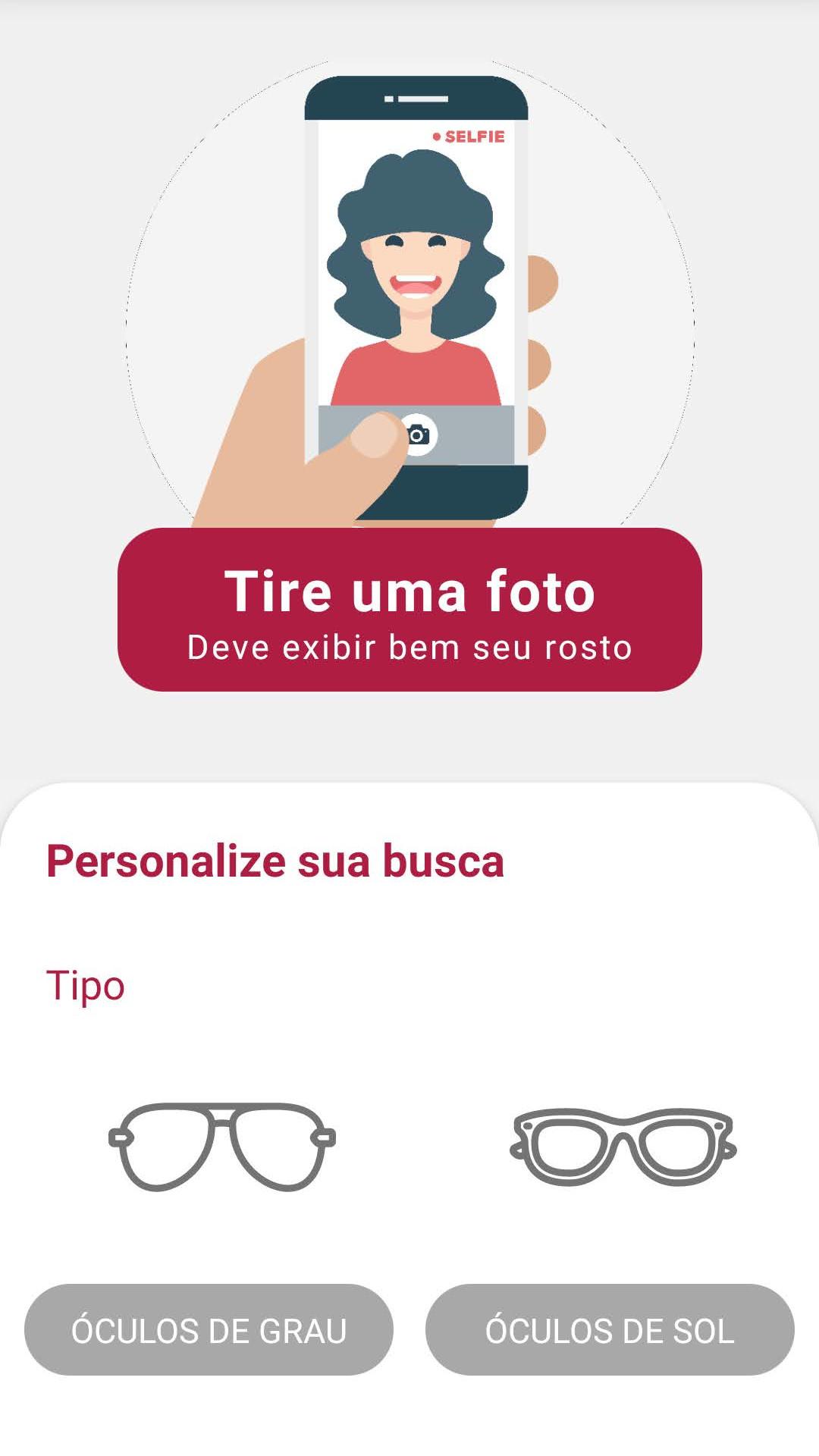 Tela do aplicativo que solicita que você tire uma foto